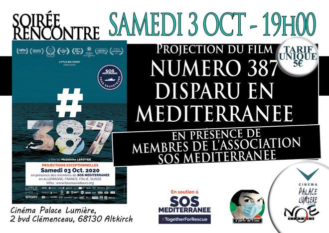 NUMERO 387 - DISPARU EN MEDITERRANEE - soirée débat en présence de membres de l'association SOS MEDITERRANEE - tarif unique 5€