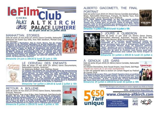 FILM CLUB DU 20 JUIN AU 31 JUILLET / Tarif unique : 5.50€