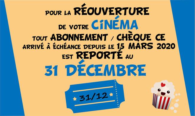 Pour la réouverture de votre cinéma à Altkirch, tous vos abonements et tickets CE arrivés à échéance depuis le 15 mars sont reportés au 31 décembre 2020 !