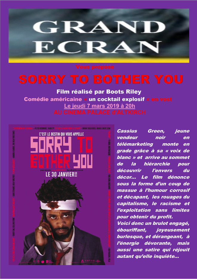 SORRY TO BOTHER YOU - Séance Grand Ecran