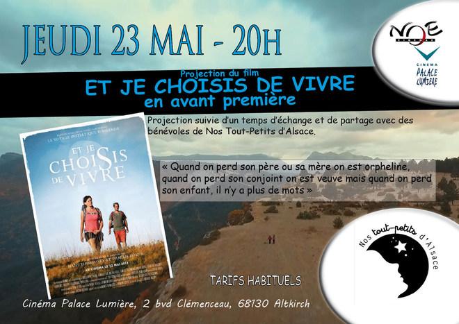 ET JE CHOISIS DE VIVRE - Avant première - jeudi 23 mai à 20h - Projection suivie d'un temps d'échange et de partage avec des bénévoles de Nos Tout-Petits d'Alsace - arif habituel