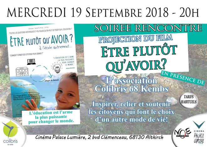 ETRE PLUTOT QU'AVOIR - Soirée Rencontre avec l'association Colibirs 68 Kembs - tarif habituel