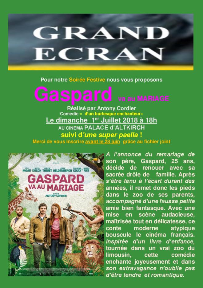 GASPARD VA AU MARIAGE - Séance Grand Ecran - Tarif unique: 4€