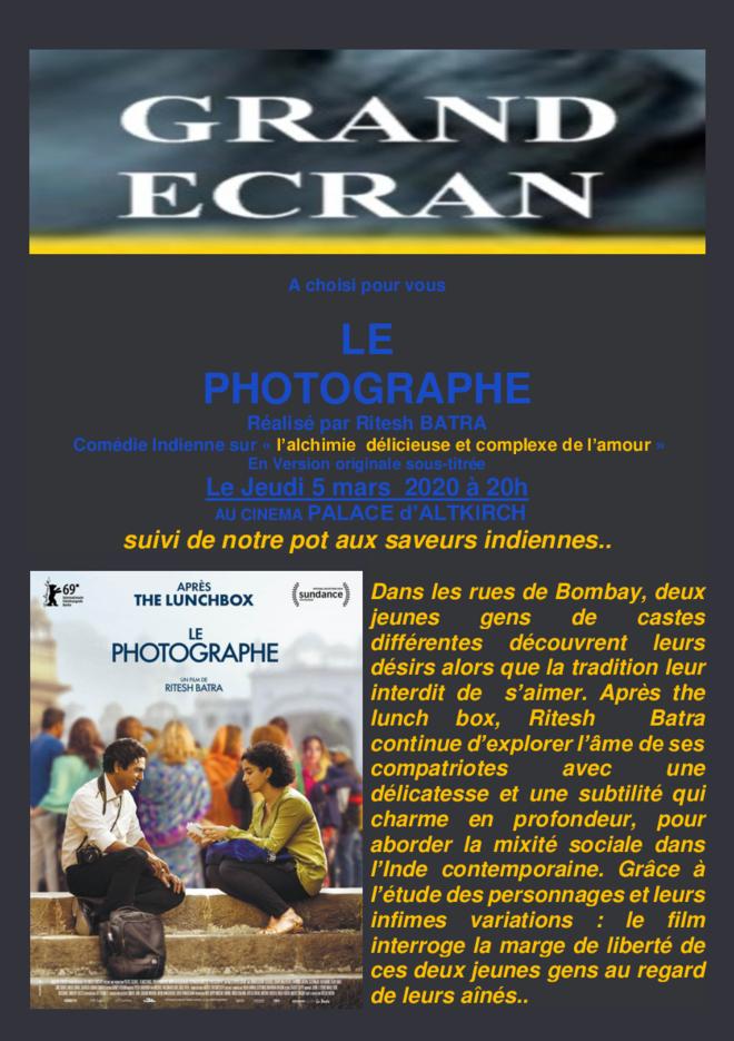 LE PHOTOGRAPHE - soirée Grand Ecran - jeudi 5 mars à 20h