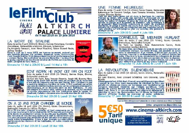 FILM CLUB DU 9 MAI AU 19 JUIN 2018 / tarif unique 5,50€