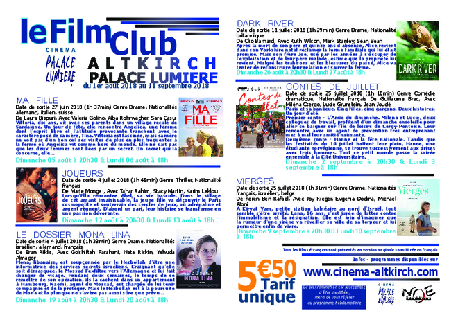 PROGRAMME DU FILM CLUB - TARIF UNIQUE: 5€50