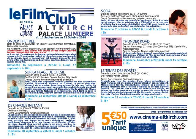 Programme du Film club - Tarif unique : 5.50€