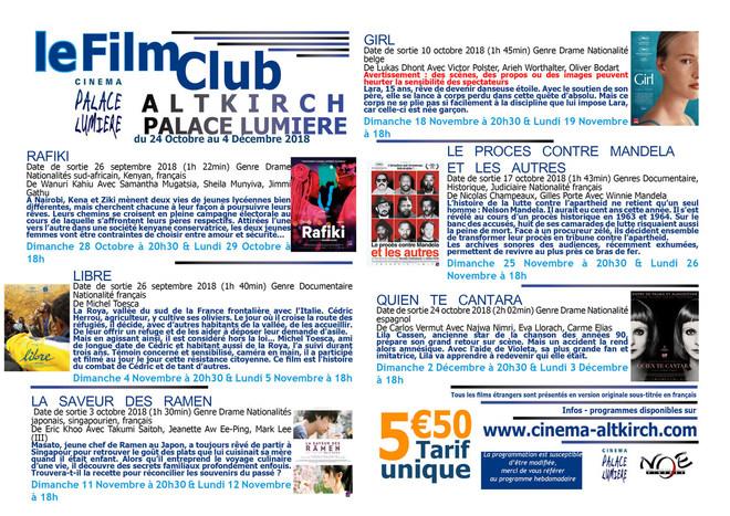 Programme du film club - Tarif unique: 5.50€
