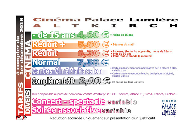 Carte Cezam Ticket Cinema.Les Tarifs De Cinema Altkirch Palace Lumiere